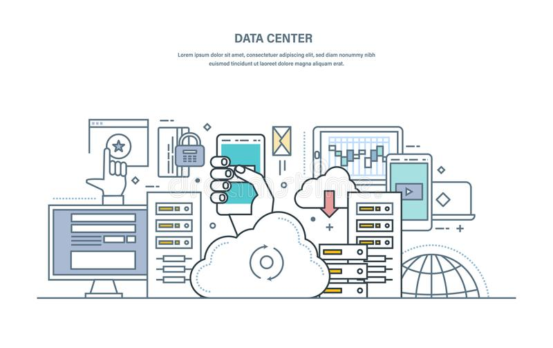 Dane centrum Obłoczny magazyn, bezpiecznie przechowywanie danych, web hosting serwer ilustracji