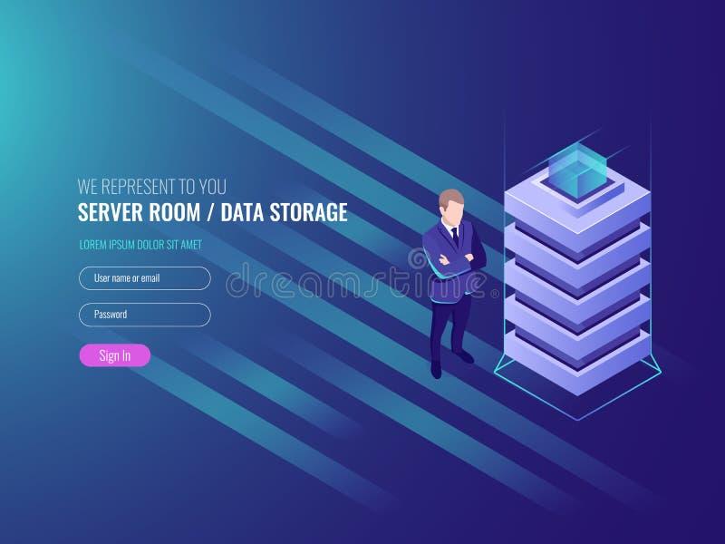 Dane centrum pojęcie, bazy danych i internet ewidencyjna ochrona, system administracja, IT isometric 3d royalty ilustracja