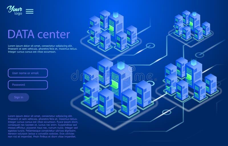 Dane centrum projekta pojęcie Isometric Wektorowa ilustracja royalty ilustracja