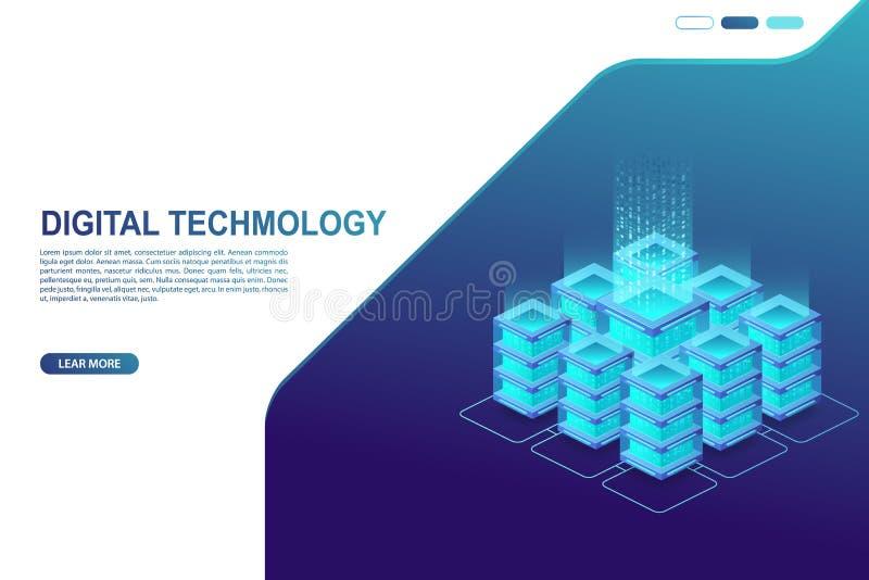 Dane centrum, serweru pokój Pojęcie obłoczny magazyn, transfer danych i dane, - przetwarzający royalty ilustracja