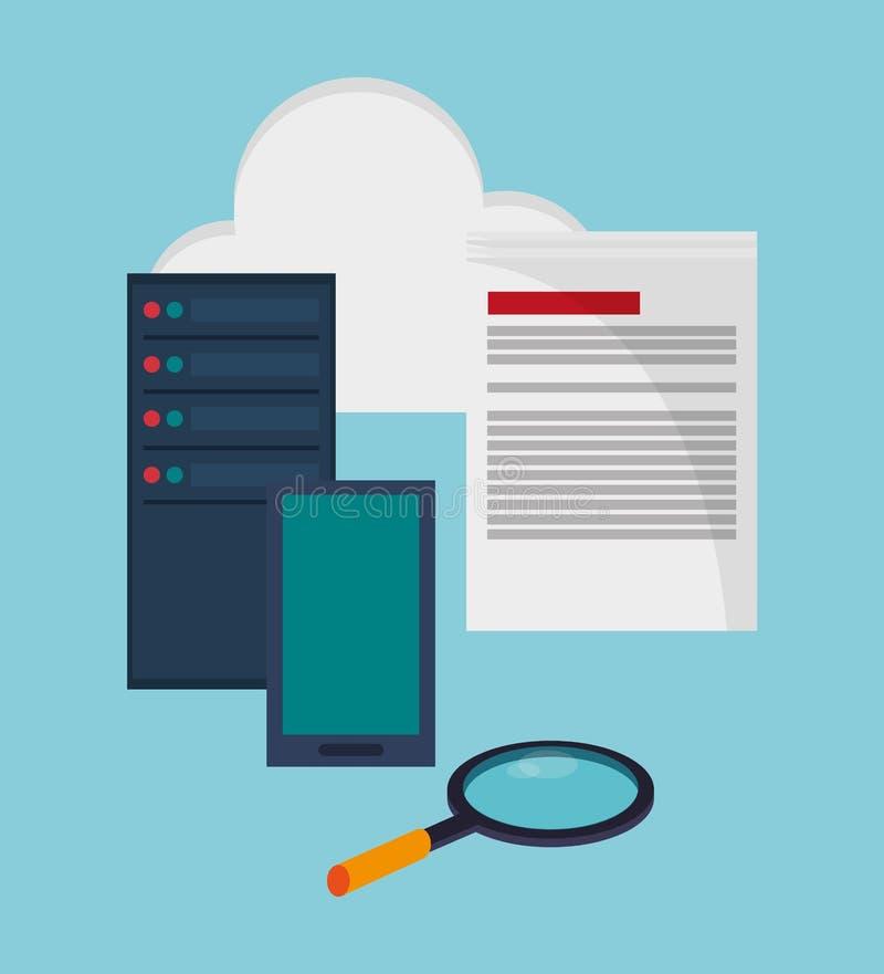 Dane centrum technologii wyposażenia składowy dokument ilustracji