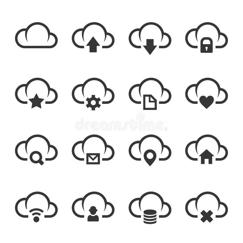 Dane chmura z Różnym znak ikony setem wektor ilustracja wektor