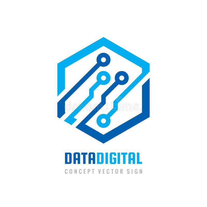 Dane cyfrowa elektroniczna technologia - wektorowy logo szablon dla korporacyjnej to?samo?ci Abstrakcjonistyczny chipa komputerow royalty ilustracja