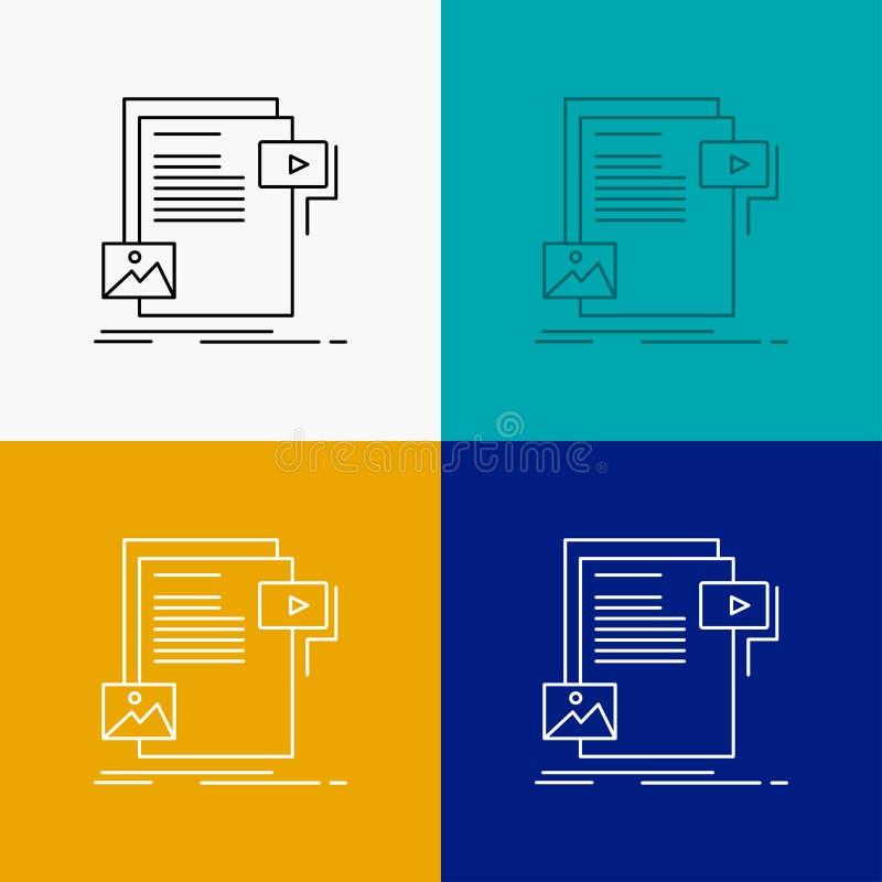 dane, dokument, kartoteka, ?rodki, strony internetowej ikona Nad R??norodnym t?em Kreskowego stylu projekt, projektuj?cy dla siec ilustracja wektor