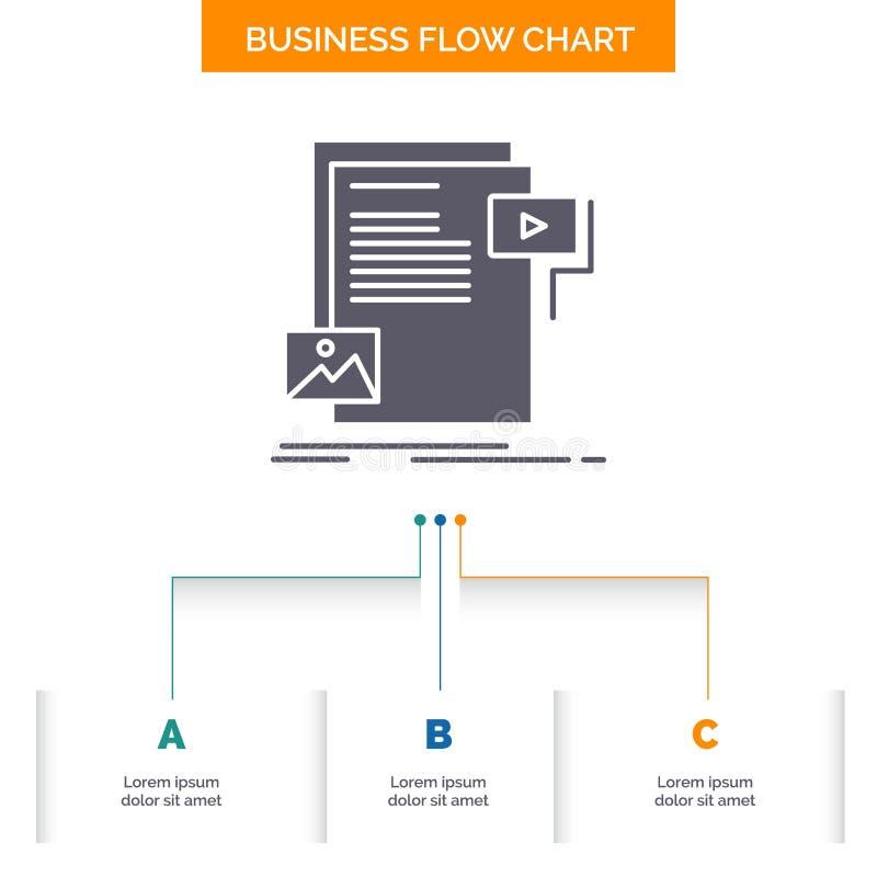 dane, dokument, kartoteka, ?rodki, strony internetowej Sp?ywowej mapy Biznesowy projekt z 3 krokami Glif ikona Dla prezentacji t? ilustracji
