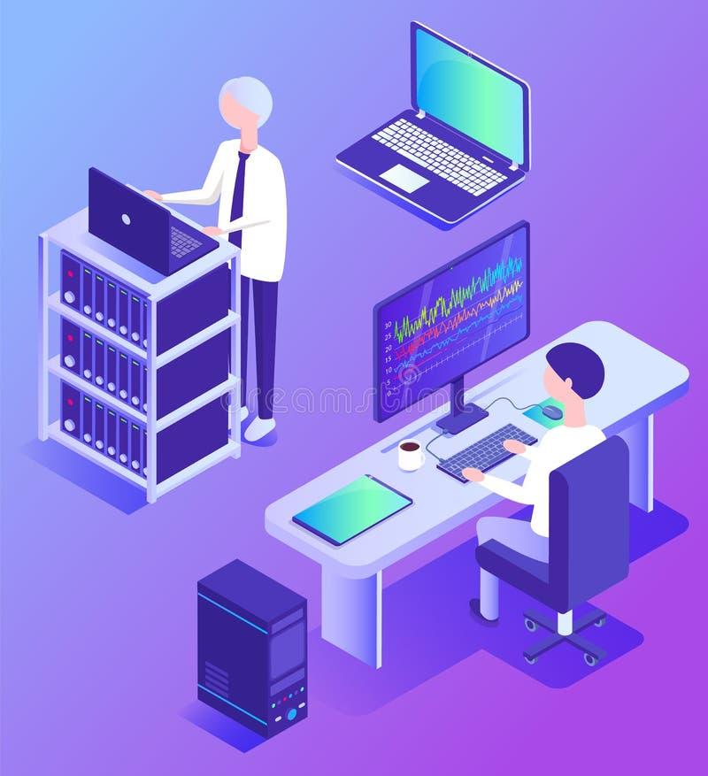 Dane dotyczące analizy technologii centrum danych i pracowników ilustracji