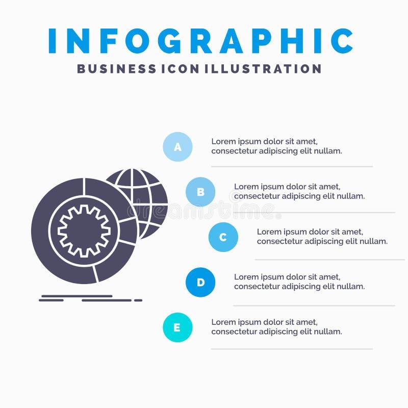 dane, duzi dane, analiza, kula ziemska, usługi Infographics szablon dla strony internetowej i prezentacja, glif Szara ikona z b?? ilustracja wektor