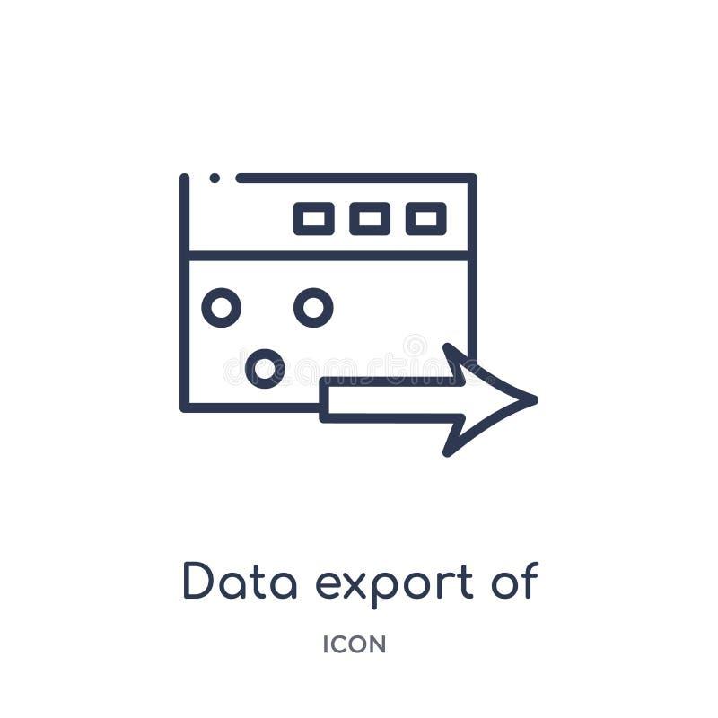 dane eksport okno z strzałkowatą ikoną od interfejs użytkownika konturu kolekcji Cienki kreskowy dane eksport okno z strzałą ilustracja wektor