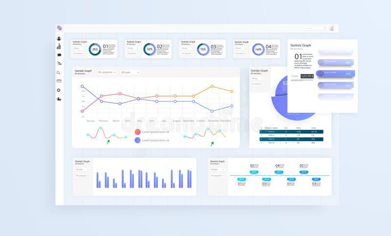 Dane Infographic zastosowanie UI UX Nowożytny inteligentny infographic diagrama wektoru interfejs ilustracja wektor