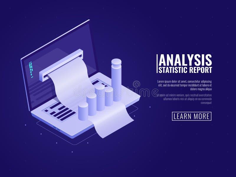 Dane informaci i analizy statystyki, zarządzanie przedsiębiorstwem, biznesowych dane rozkaz, laptop z diagram mapą isometric ilustracja wektor