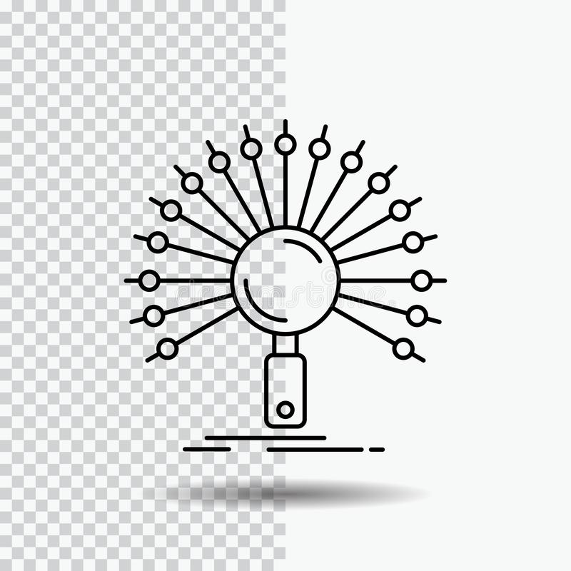 Dane, informacja, informational, sieć, odratowanie Kreskowa ikona na Przejrzystym tle Czarna ikona wektoru ilustracja royalty ilustracja
