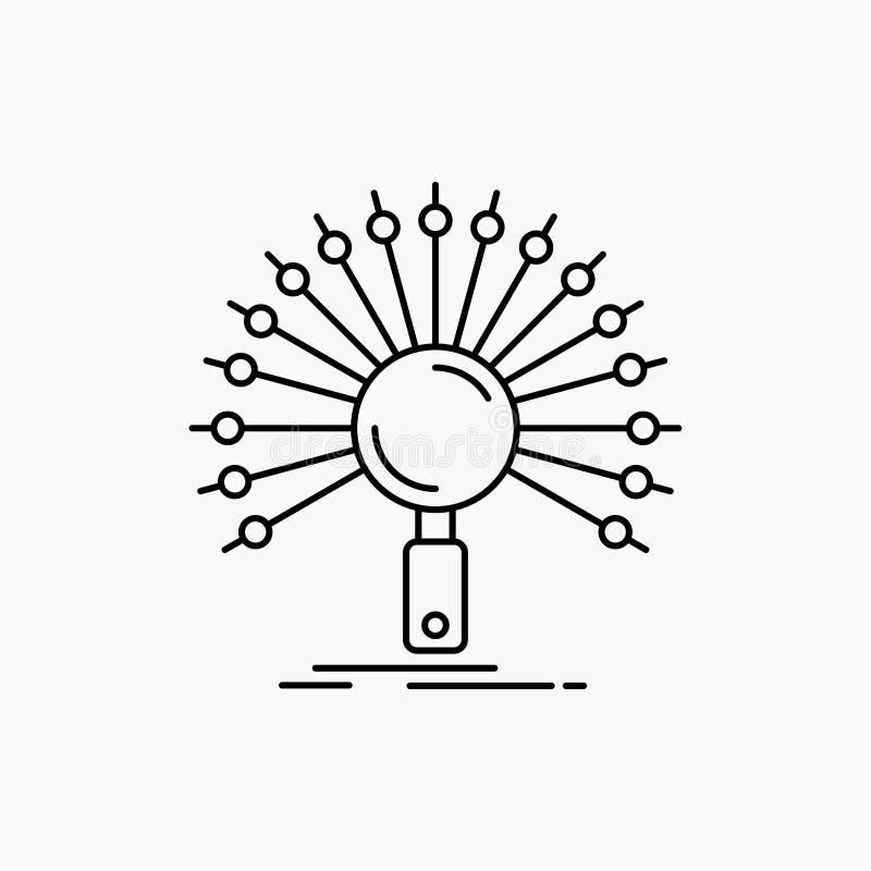 Dane, informacja, informational, sie?, odratowanie Kreskowa ikona Wektor odosobniona ilustracja ilustracja wektor