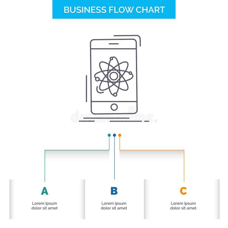 dane, informacja, wisząca ozdoba, badanie, nauki Spływowej mapy Biznesowy projekt z 3 krokami Kreskowa ikona Dla prezentacji t?a royalty ilustracja