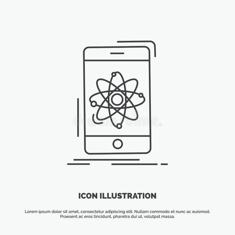 dane, informacja, wisz?ca ozdoba, badanie, nauki ikona Kreskowy wektorowy szary symbol dla UI, UX, strona internetowa i wisz?cej  royalty ilustracja