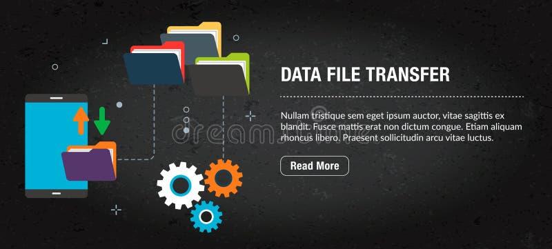 Dane kartoteki przeniesienie, sztandaru internet z ikonami w wektorze zdjęcie stock