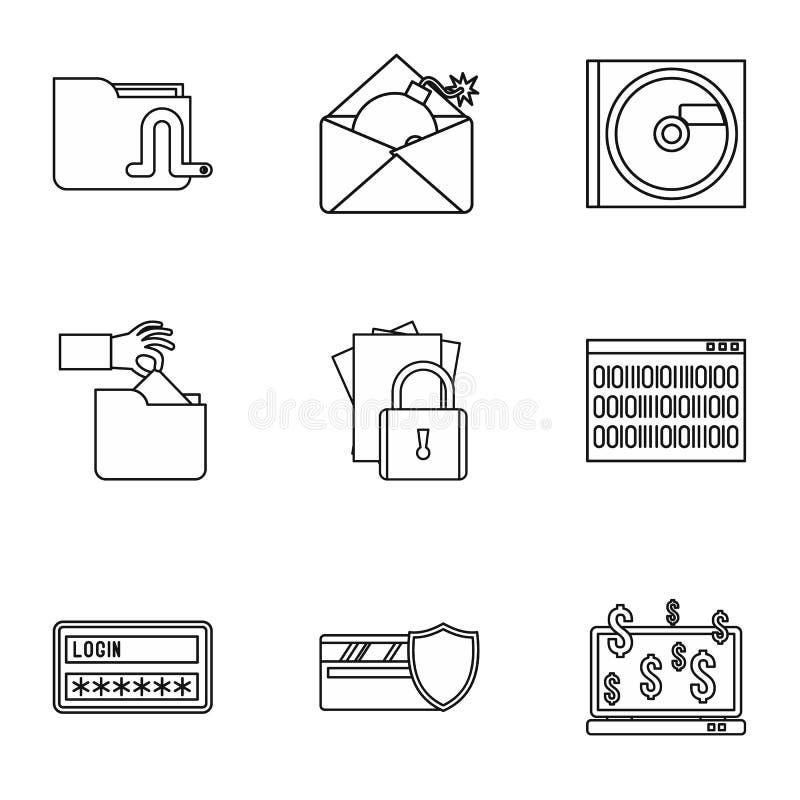 Dane kradzieżowe ikony ustawiać, konturu styl royalty ilustracja