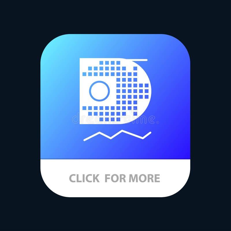 Dane, nauka, dane nauka, Górniczy Mobilny App guzik Android i IOS glifu wersja ilustracja wektor