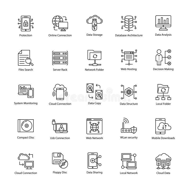 Dane nauki linii ikony ilustracja wektor