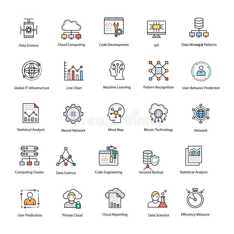 Dane nauki Płaskie Wektorowe ikony Ustawiać ilustracji