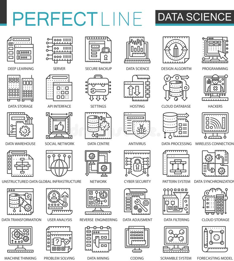 Dane nauki technologii konturu pojęcia mini symbole Maszynowego uczenie procesu nowożytnego uderzenia liniowe stylowe ilustracje ilustracji