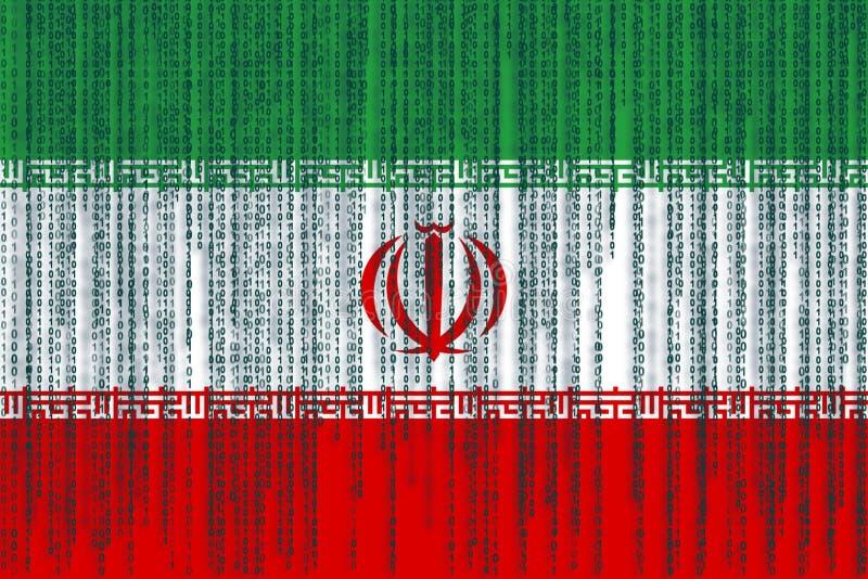 Dane ochrony Iran flaga Iran flaga z binarnym kodem ilustracji