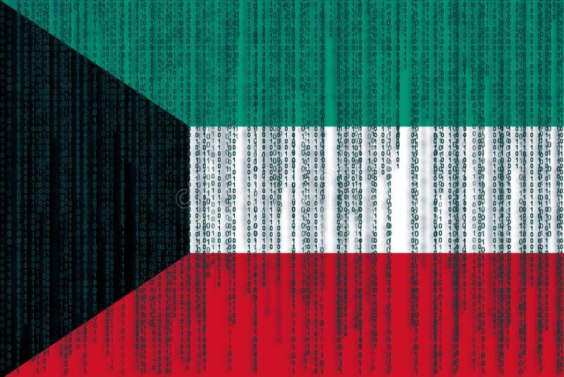 Dane ochrony Kuwejt flaga Kuwejt flaga z binarnym kodem royalty ilustracja