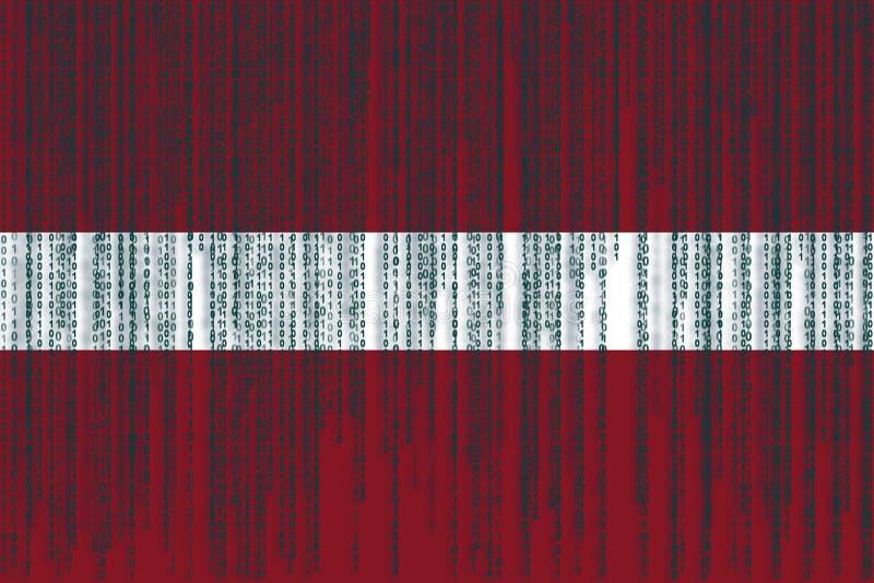 Dane ochrony Latvia flaga Latvia flaga z binarnym kodem royalty ilustracja