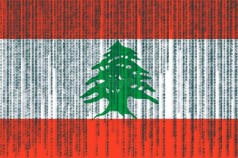Dane ochrony Liban flaga Liban flaga z binarnym kodem ilustracji