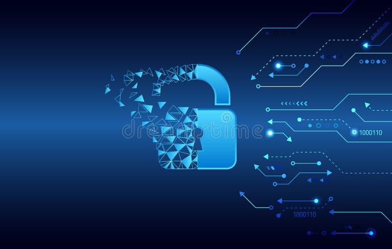 Dane ochrony prywatno?ci poj?cie Kłódki ikona i internet technologii networking związek ilustracja wektor