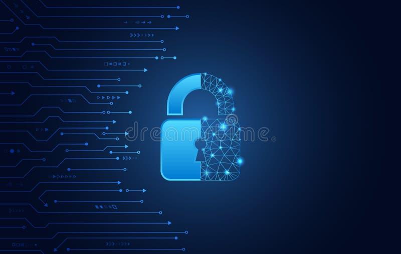 Dane ochrony prywatno?ci poj?cie Kłódki ikona i internet technologii networking związek royalty ilustracja