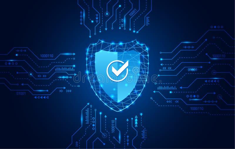 Dane ochrony prywatno?ci poj?cie Osłony ikona i internet technologii networking związek royalty ilustracja