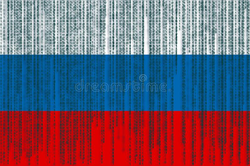 Dane ochrony Rosja flaga Rosjanin flaga z binarnym kodem royalty ilustracja