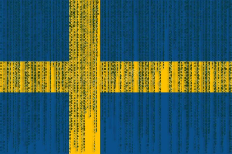 Dane ochrony Szwecja flaga Szwecja flaga z binarnym kodem ilustracji