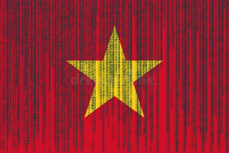Dane ochrony Wietnam flaga Wietnam flaga z binarnym kodem royalty ilustracja