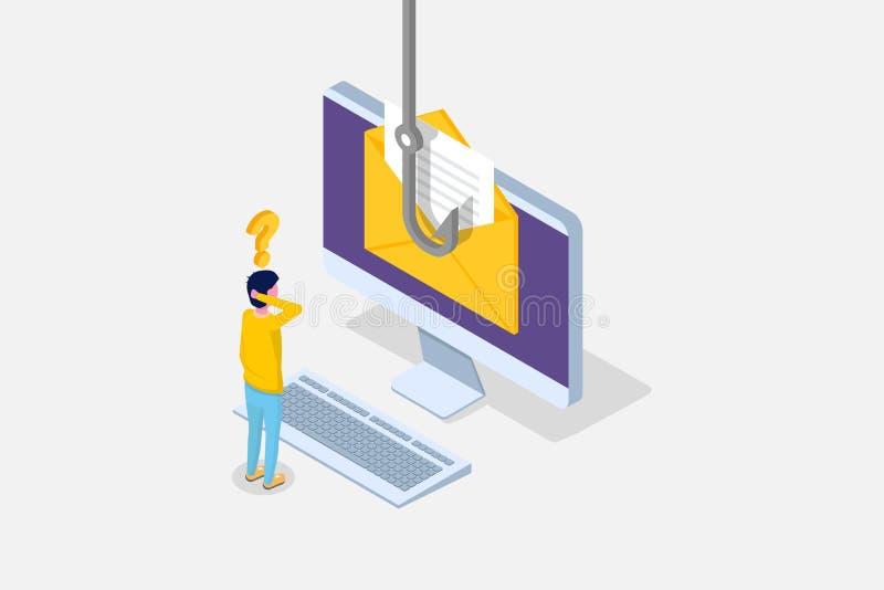 Dane phishing isometric, siekający online przekręt na laptopu pojęciu Łowiący emailem, koperta i łowić haczyk Cyber złodziej ilustracji