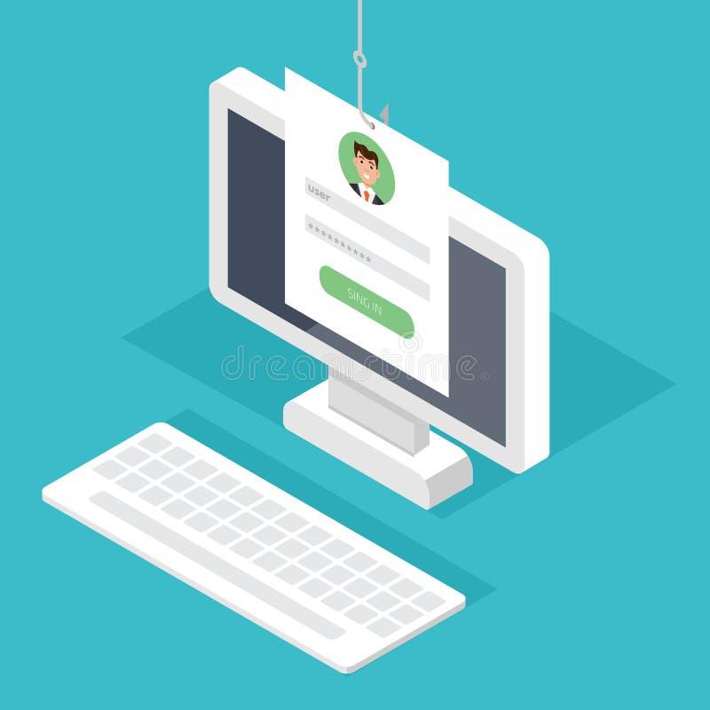 Dane phishing, sieka online przekręt na komputerowym Desktop pojęciu Łowiący emailem, koperta i łowić haczyk royalty ilustracja