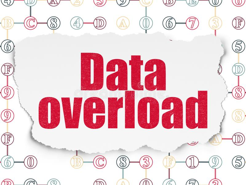 Dane pojęcie: Dane przeciążenie na Poszarpanym Papierowym tle ilustracji