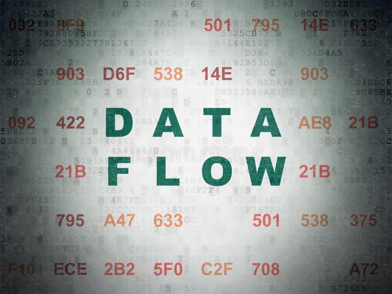Dane pojęcie: Dane przepływ na Cyfrowych dane papieru tle royalty ilustracja