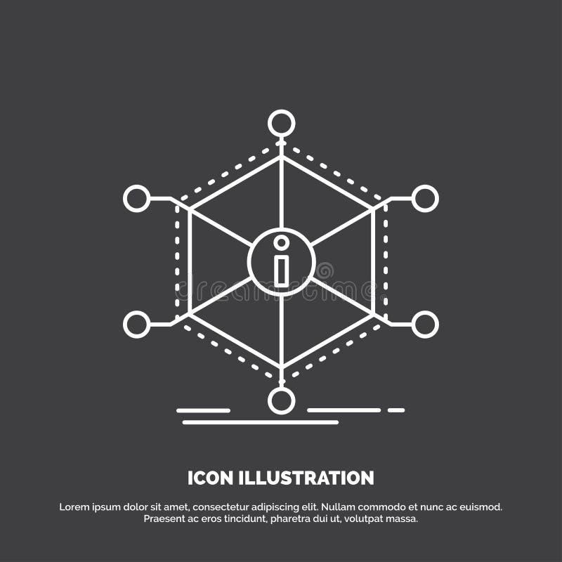 Dane, pomoc, informacja, informacja, zasoby ikona Kreskowy wektorowy symbol dla UI, UX, strona internetowa i wisz?cej ozdoby zast royalty ilustracja