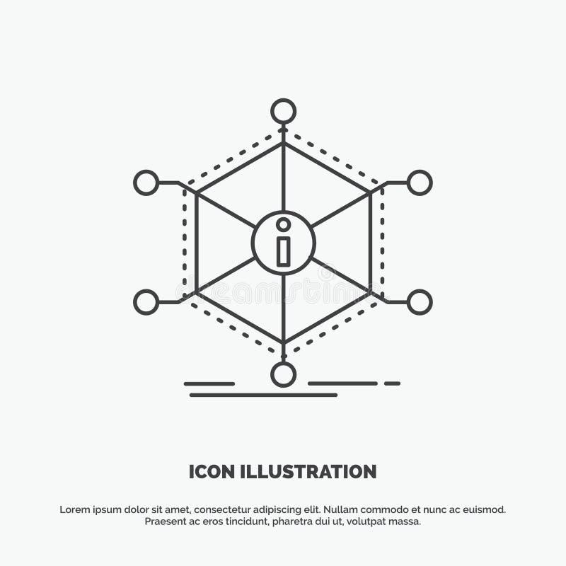 Dane, pomoc, informacja, informacja, zasoby ikona Kreskowy wektorowy szary symbol dla UI, UX, strona internetowa i wisz?cej ozdob royalty ilustracja