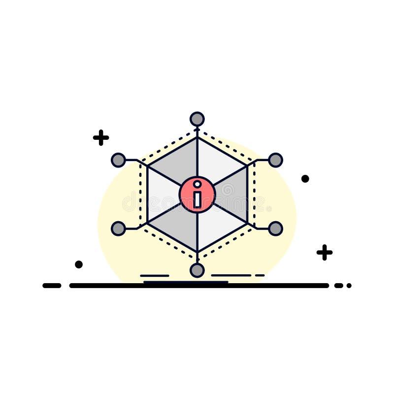 Dane, pomoc, informacja, informacja, zasoby koloru ikony Płaski wektor ilustracja wektor