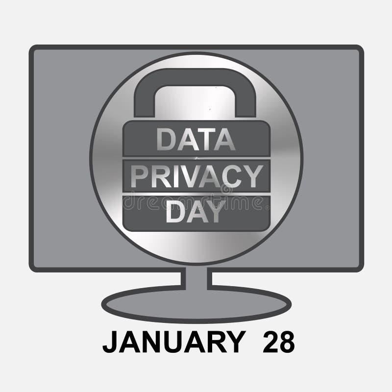 Dane prywatności dzień Komputer z szyldowym kędziorkiem royalty ilustracja