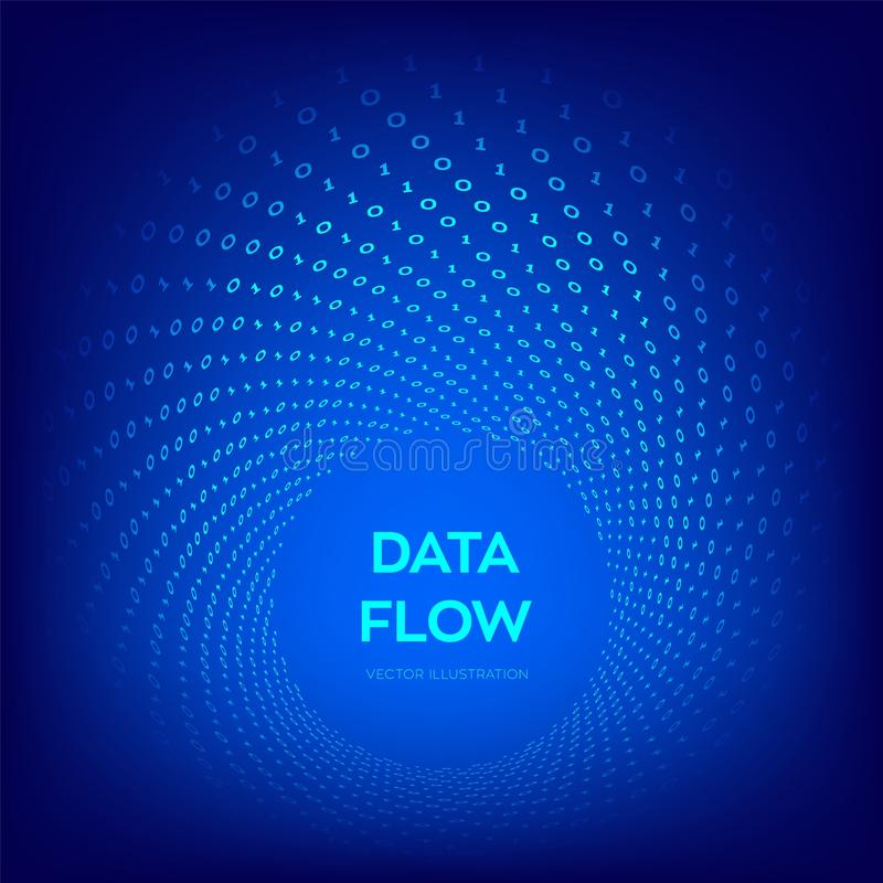 Dane przepływ kod 3 d przedmiotu tapeta cyfrowa binarnych przepływ danych Duży Dane Wirtualna tunel łoktusza Cyfrowanie programow ilustracji