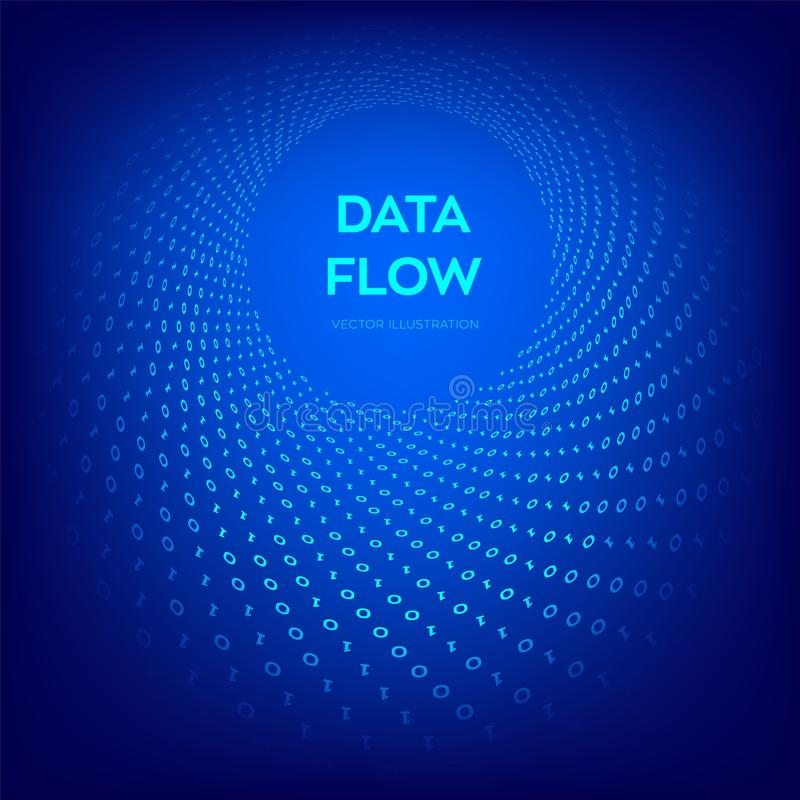 Dane przepływ kod 3 d przedmiotu tapeta cyfrowa binarnych przepływ danych Duży Dane Wirtualna tunel łoktusza Cyfrowanie programow royalty ilustracja