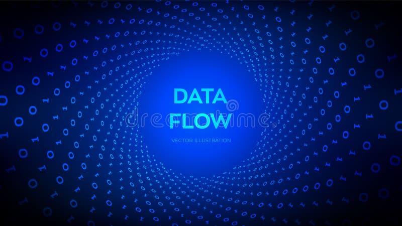 Dane przepływ kod 3 d przedmiotu tapeta cyfrowa binarnych przepływ danych Wirtualna tunel łoktusza Cyfrowanie programowanie lub s ilustracji