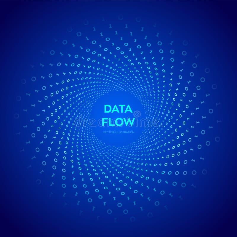 Dane przepływ kod 3 d przedmiotu tapeta cyfrowa binarnych przepływ danych Wirtualna tunel łoktusza Cyfrowanie programowanie lub s royalty ilustracja