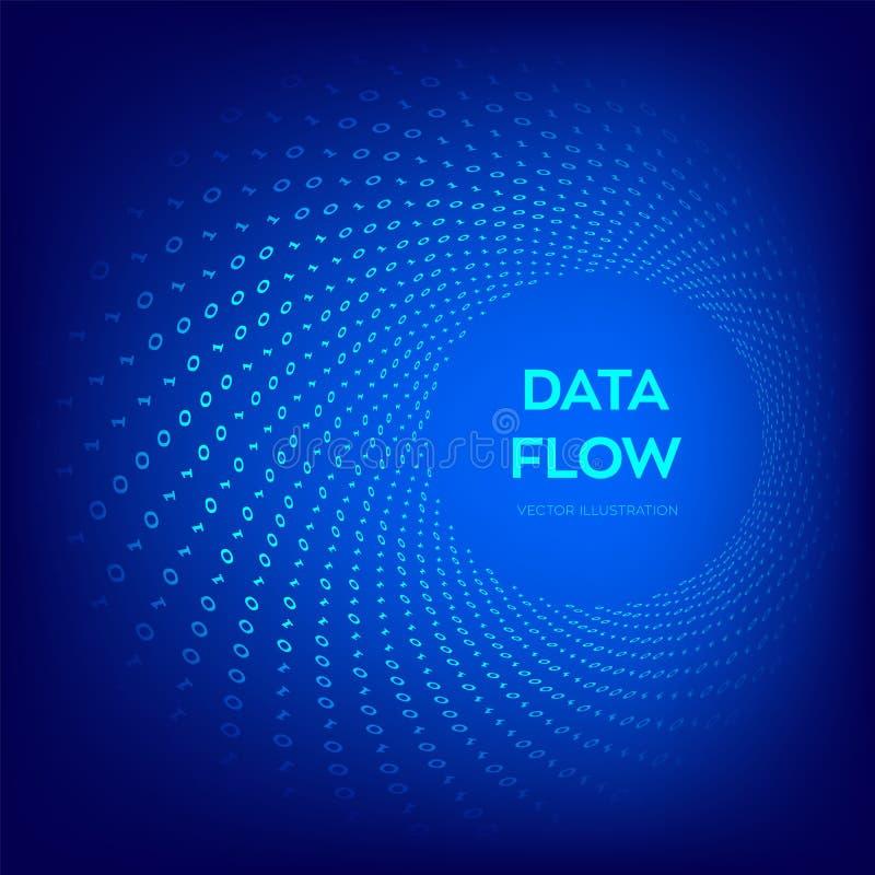 Dane przepływ kod 3 d przedmiotu tapeta cyfrowa binarnych przepływ danych Wirtualna tunel łoktusza Cyfrowanie programowanie lub s ilustracja wektor