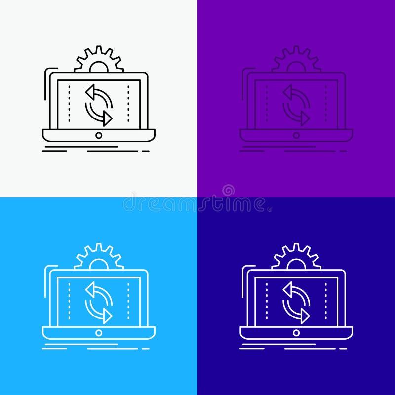 dane, przer?b, analiza, reporta?, synchronizacji ikona Nad R??norodnym t?em Kreskowego stylu projekt, projektuj?cy dla sieci i ap ilustracji