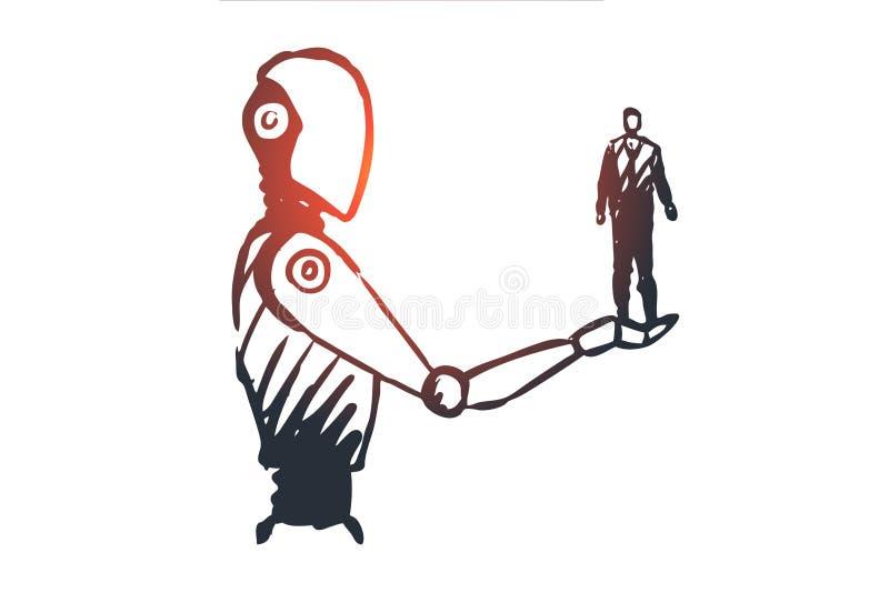 Dane, robot, technologia, maszyna, inteligenci pojęcie Ręka rysujący odosobniony wektor royalty ilustracja