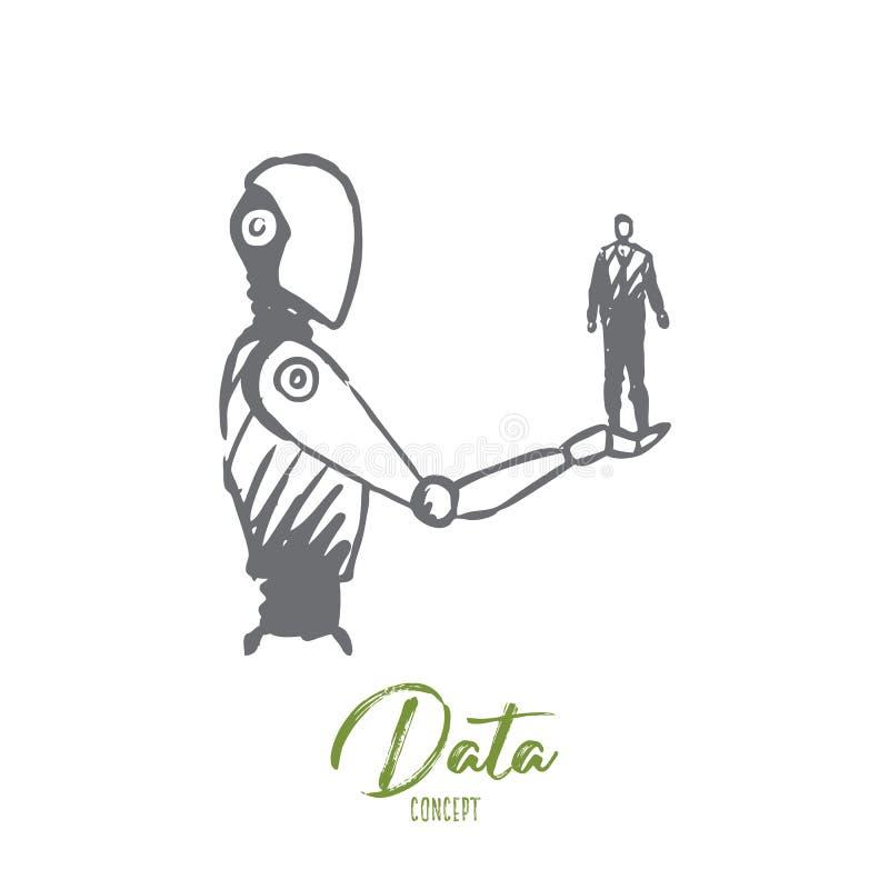 Dane, robot, technologia, maszyna, inteligenci pojęcie Ręka rysujący odosobniony wektor ilustracja wektor